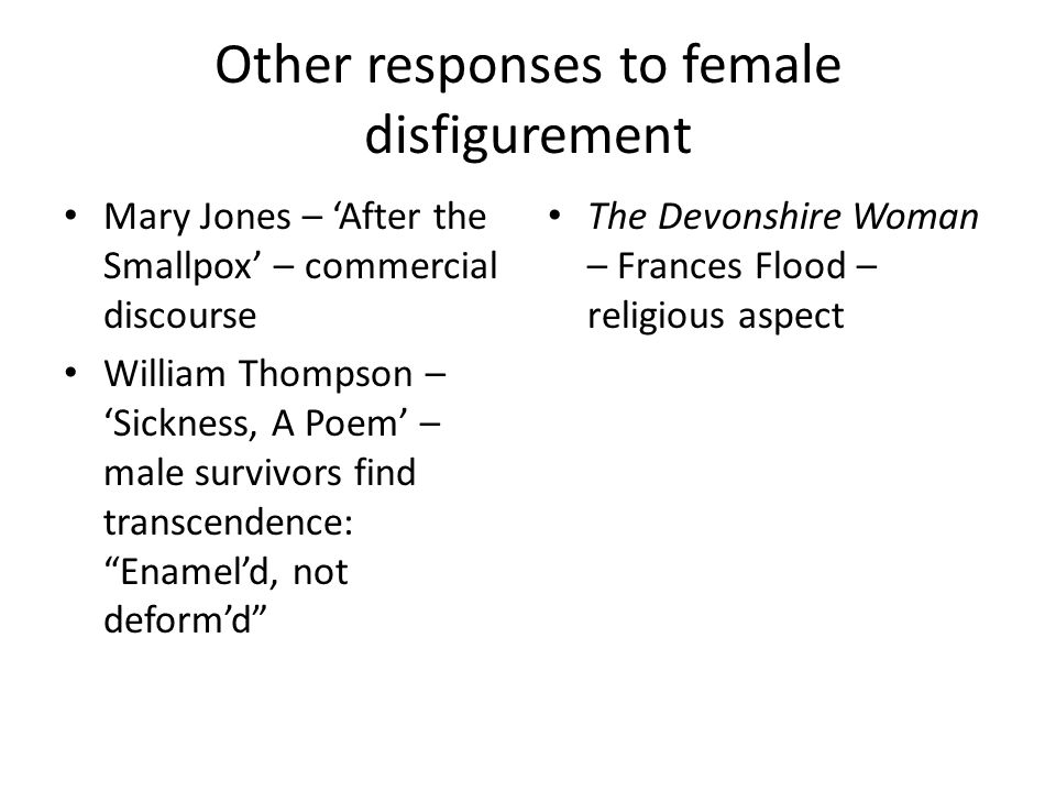 Other responses to female disfigurement