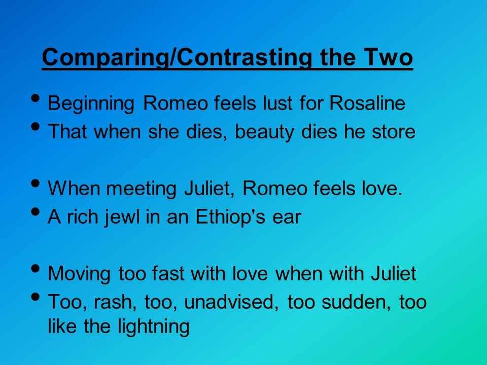 Comparing/Contrasting the Two