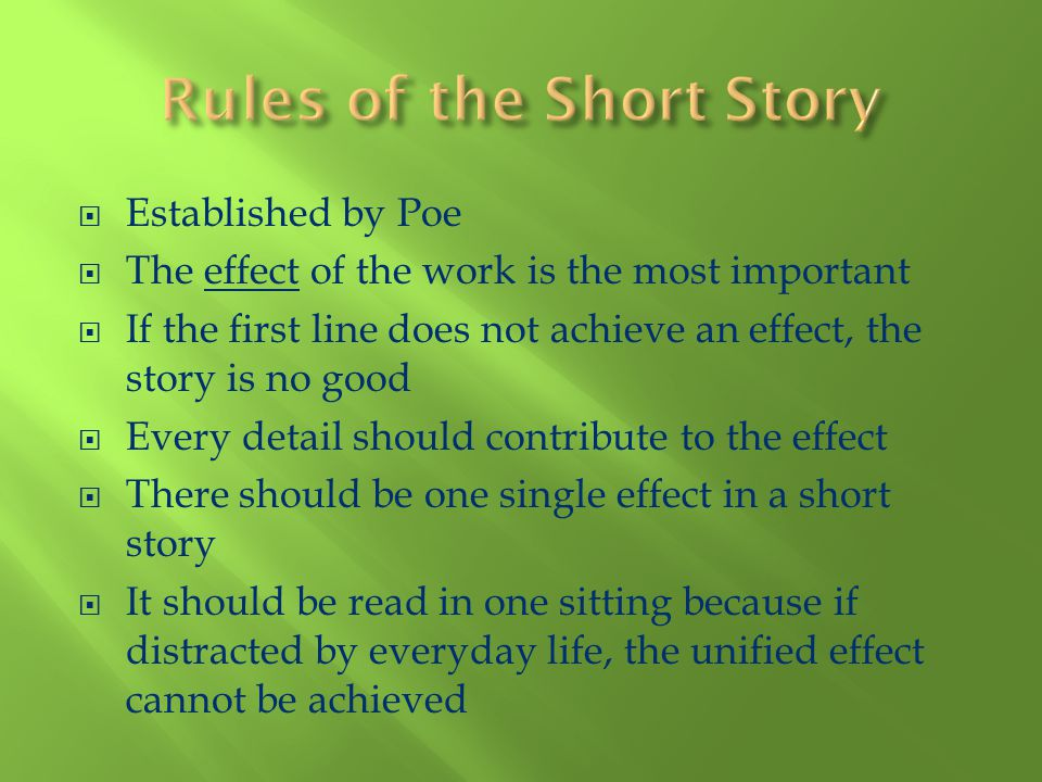Rules of the Short Story