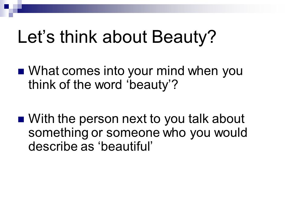 Let's think about Beauty