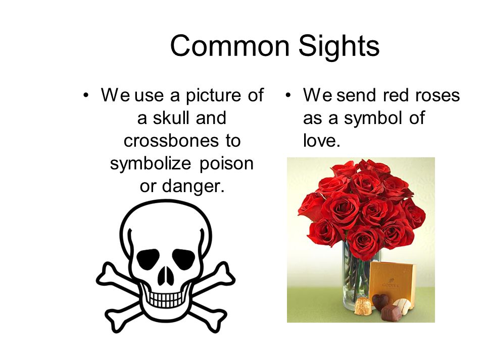 Common Sights We use a picture of a skull and crossbones to symbolize poison or danger.