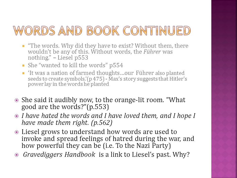 Words and book continued