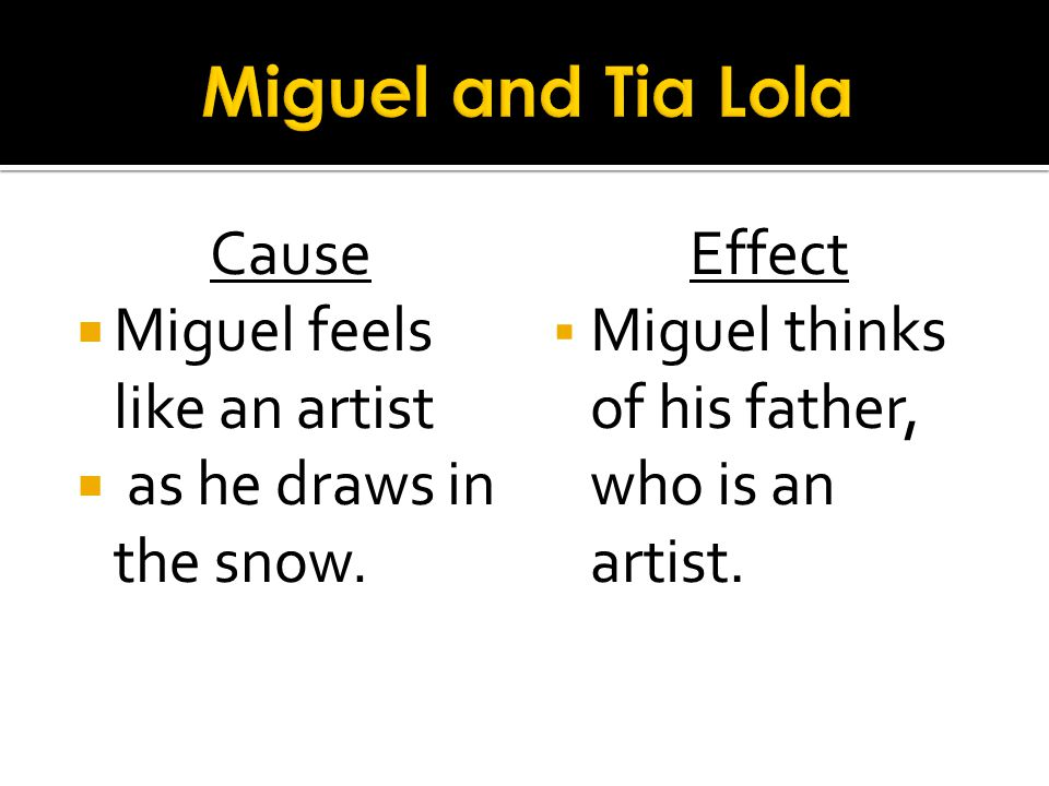 Miguel and Tia Lola Cause Miguel feels like an artist