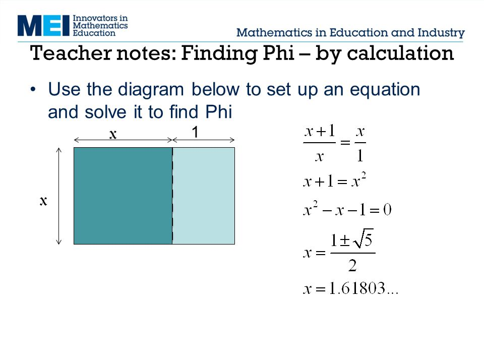Teacher notes: Finding Phi – by calculation