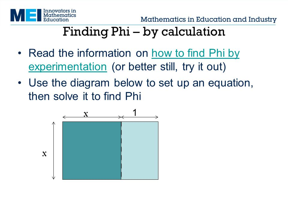 Finding Phi – by calculation