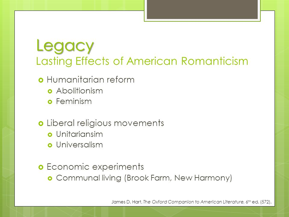Legacy Lasting Effects of American Romanticism