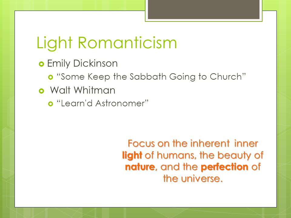 Light Romanticism Emily Dickinson Walt Whitman