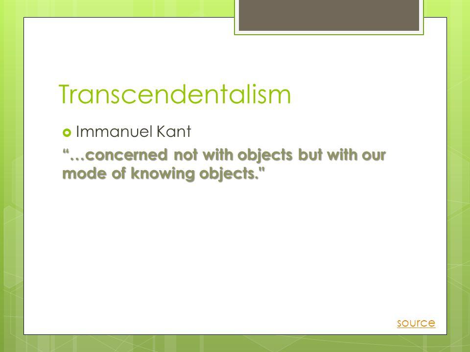 Transcendentalism Immanuel Kant