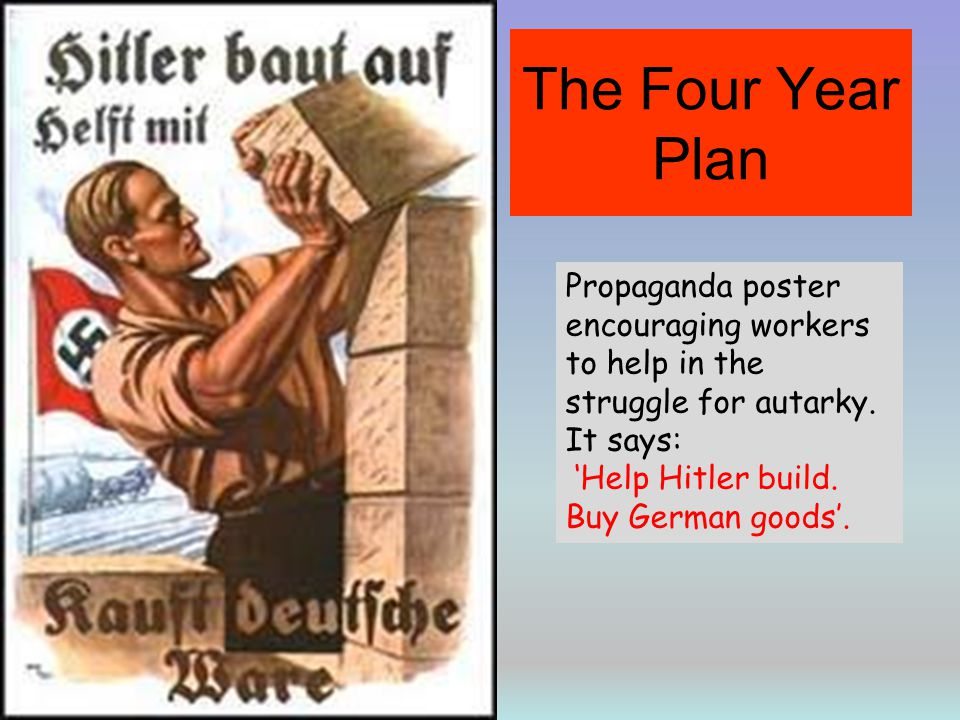 The Four Year Plan Propaganda poster encouraging workers to help in the struggle for autarky. It says: