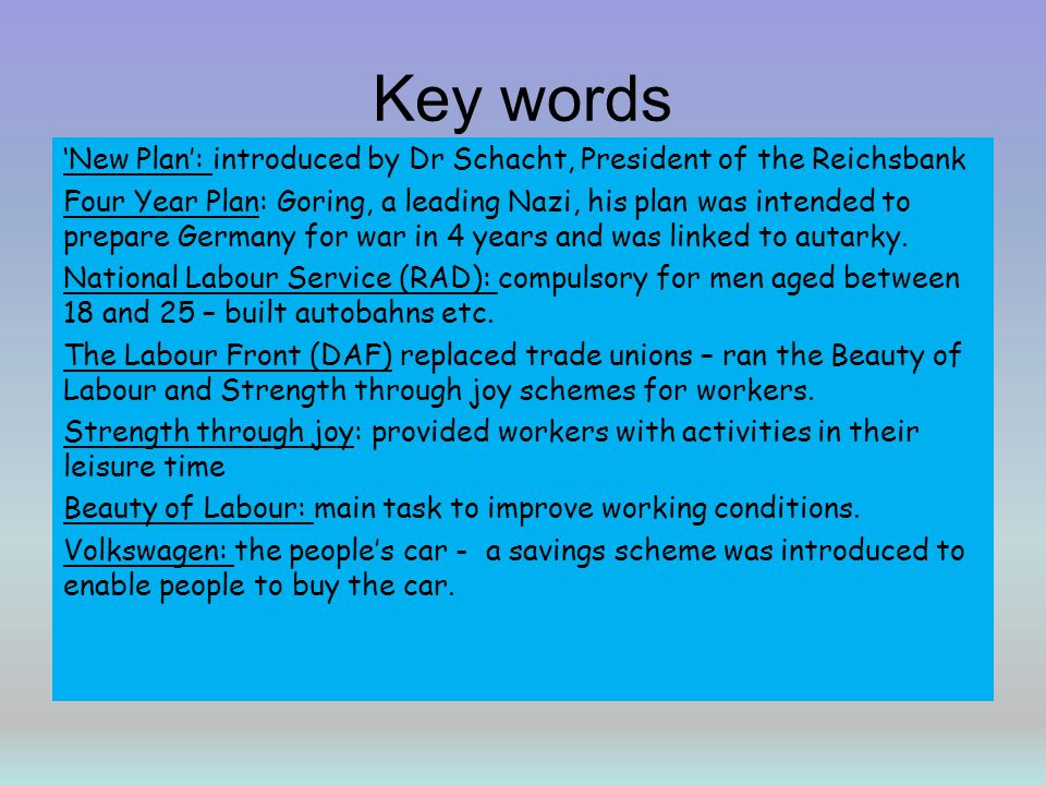 Key words 'New Plan': introduced by Dr Schacht, President of the Reichsbank.