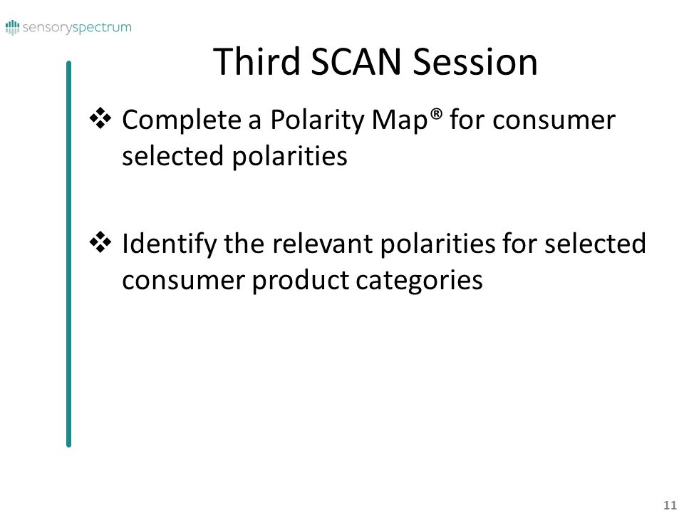 Third SCAN Session Complete a Polarity Map® for consumer selected polarities.
