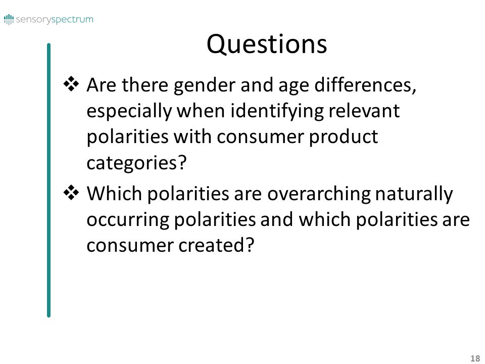 Questions Are there gender and age differences, especially when identifying relevant polarities with consumer product categories
