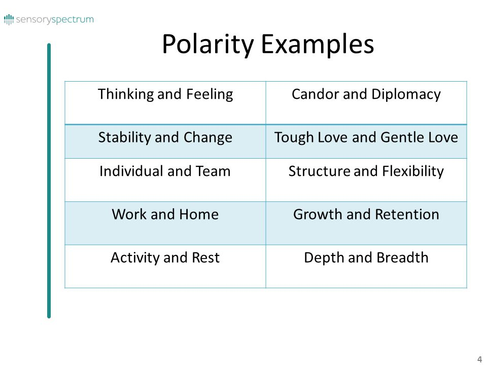 Polarity Examples Thinking and Feeling Candor and Diplomacy