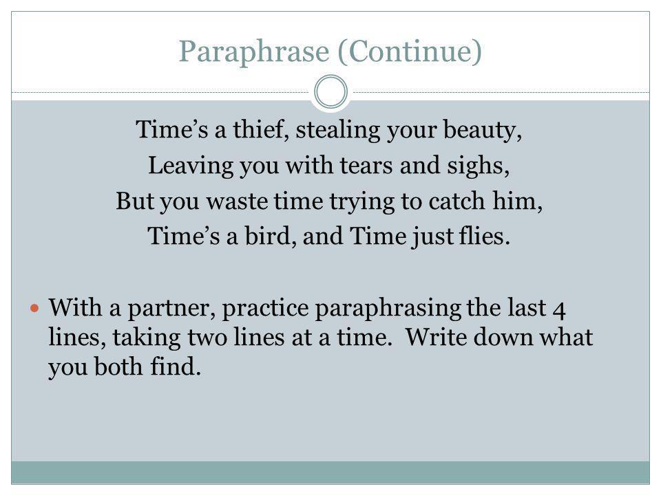 Paraphrase (Continue)