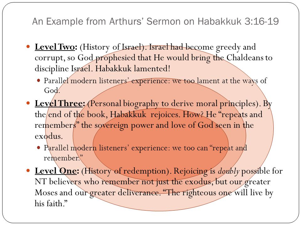 An Example from Arthurs' Sermon on Habakkuk 3:16-19
