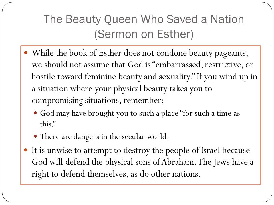 The Beauty Queen Who Saved a Nation (Sermon on Esther)