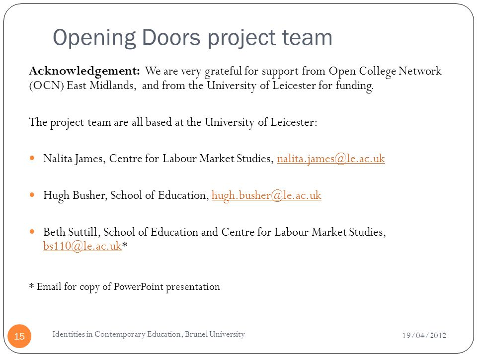 Opening Doors project team