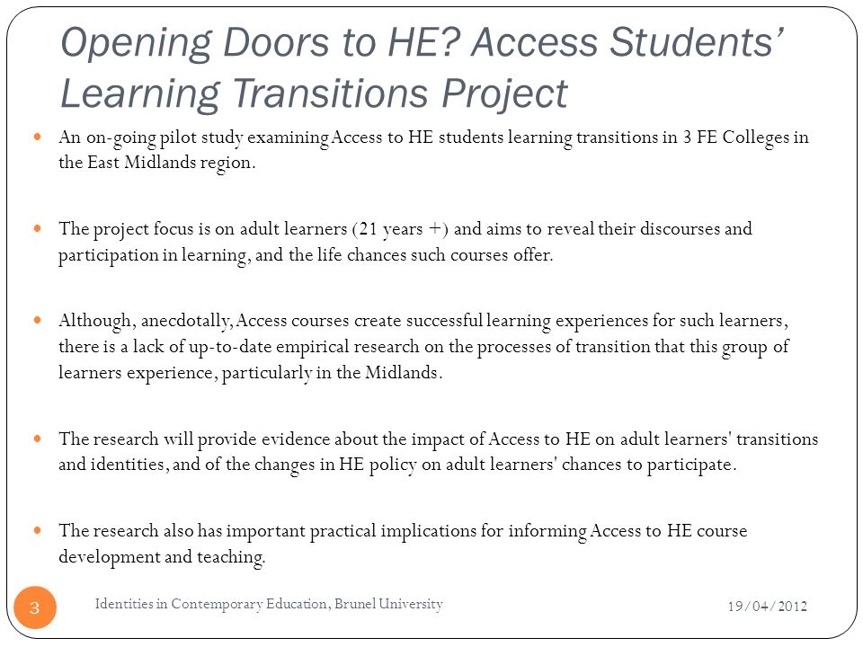 Opening Doors to HE Access Students' Learning Transitions Project