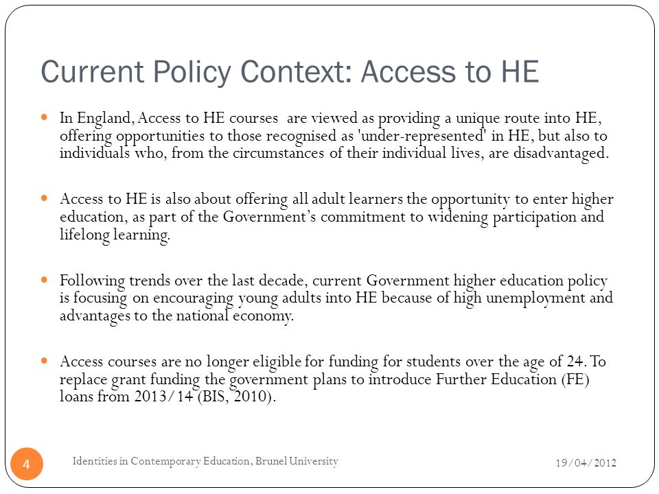 Current Policy Context: Access to HE