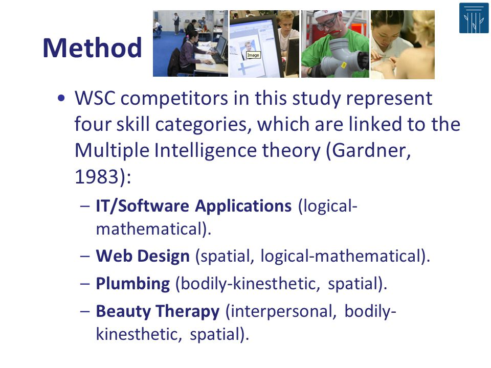 Method WSC competitors in this study represent four skill categories, which are linked to the Multiple Intelligence theory (Gardner, 1983):