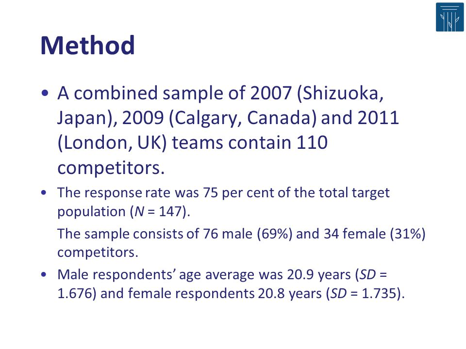 Method A combined sample of 2007 (Shizuoka, Japan), 2009 (Calgary, Canada) and 2011 (London, UK) teams contain 110 competitors.