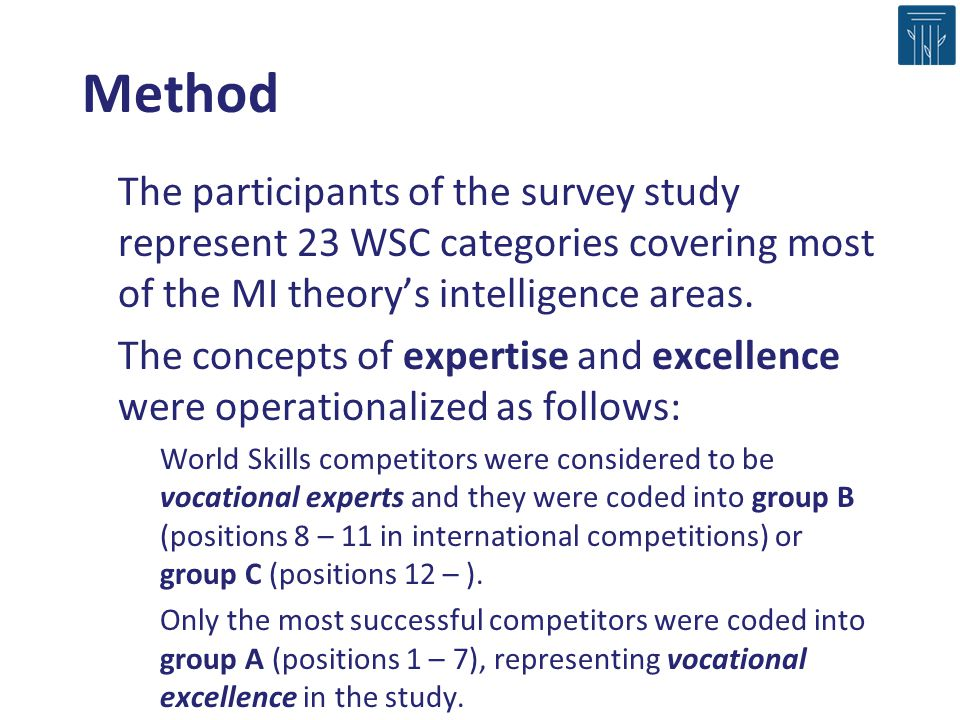 Method The participants of the survey study represent 23 WSC categories covering most of the MI theory's intelligence areas.