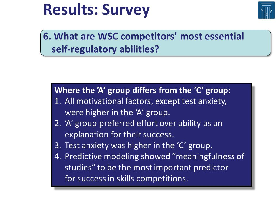 Results: Survey 6. What are WSC competitors most essential self-regulatory abilities Where the 'A' group differs from the 'C' group: