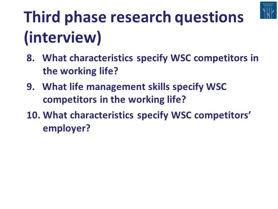 Third phase research questions (interview)
