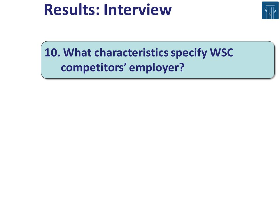 Results: Interview 10. What characteristics specify WSC competitors' employer