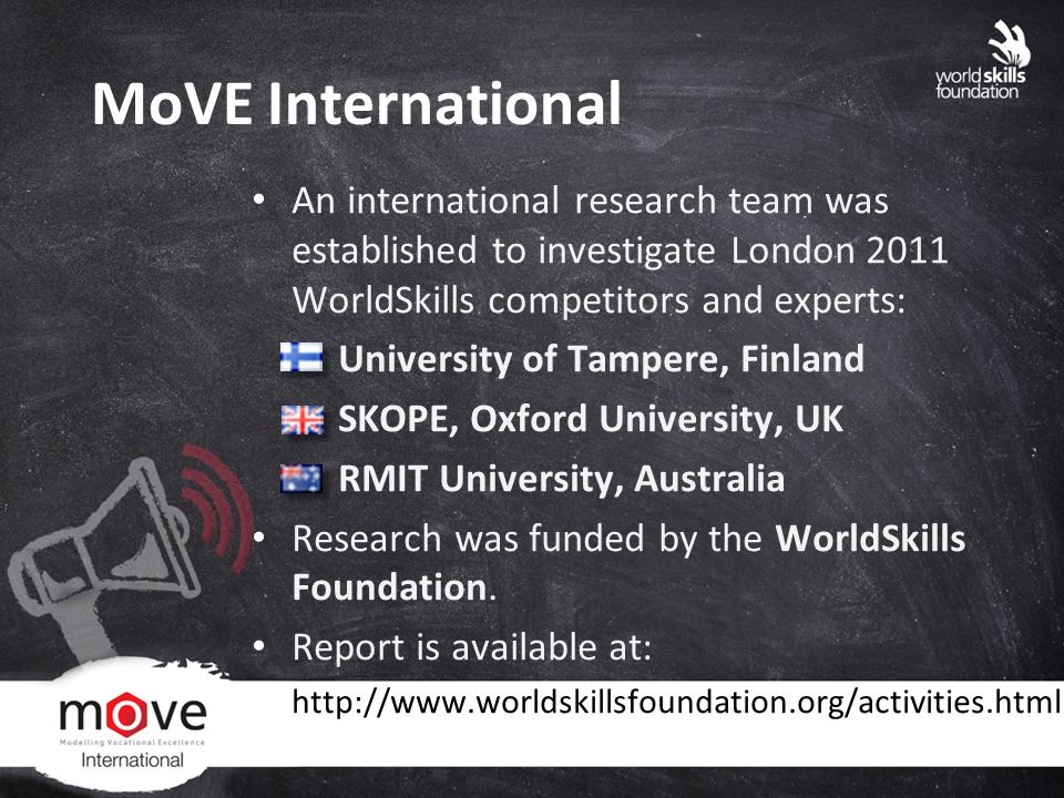 MoVE International An international research team was established to investigate London 2011 WorldSkills competitors and experts: