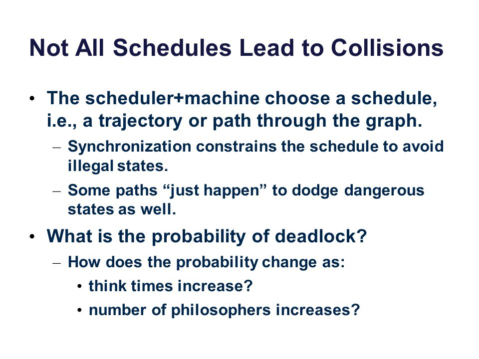 Not All Schedules Lead to Collisions