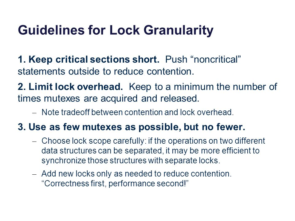 Guidelines for Lock Granularity
