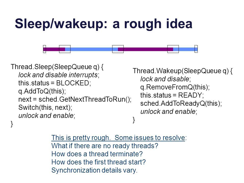 Sleep/wakeup: a rough idea