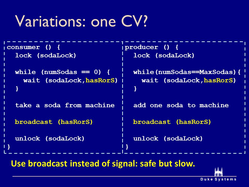 Variations: one CV Use broadcast instead of signal: safe but slow.