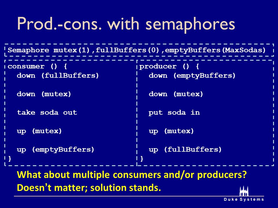 Prod.-cons. with semaphores