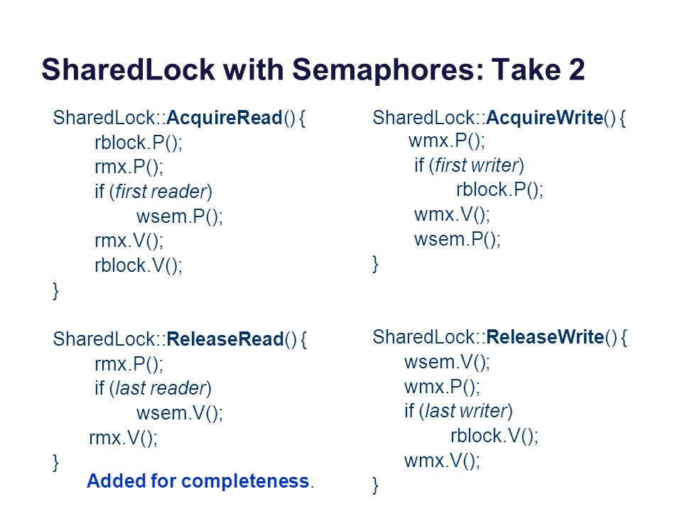 SharedLock with Semaphores: Take 2