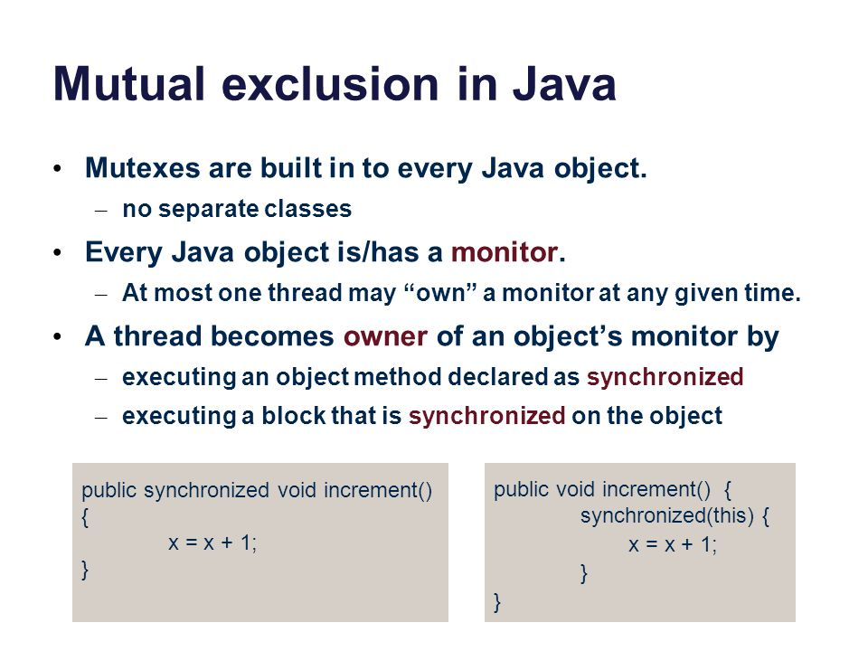Mutual exclusion in Java
