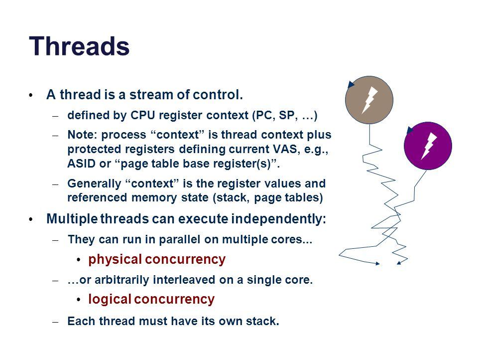 Threads A thread is a stream of control.