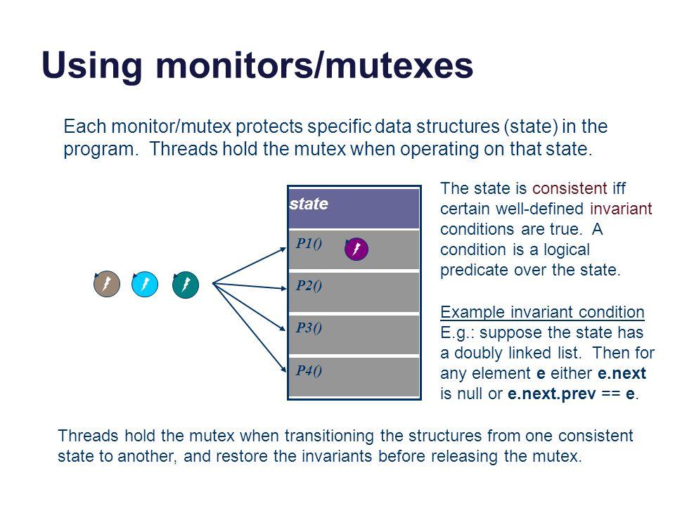 Using monitors/mutexes