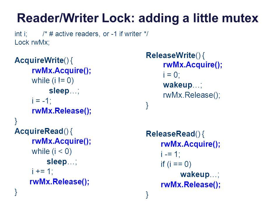 Reader/Writer Lock: adding a little mutex