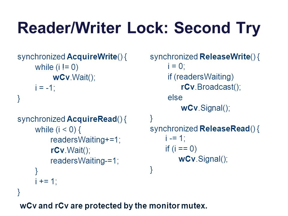 Reader/Writer Lock: Second Try