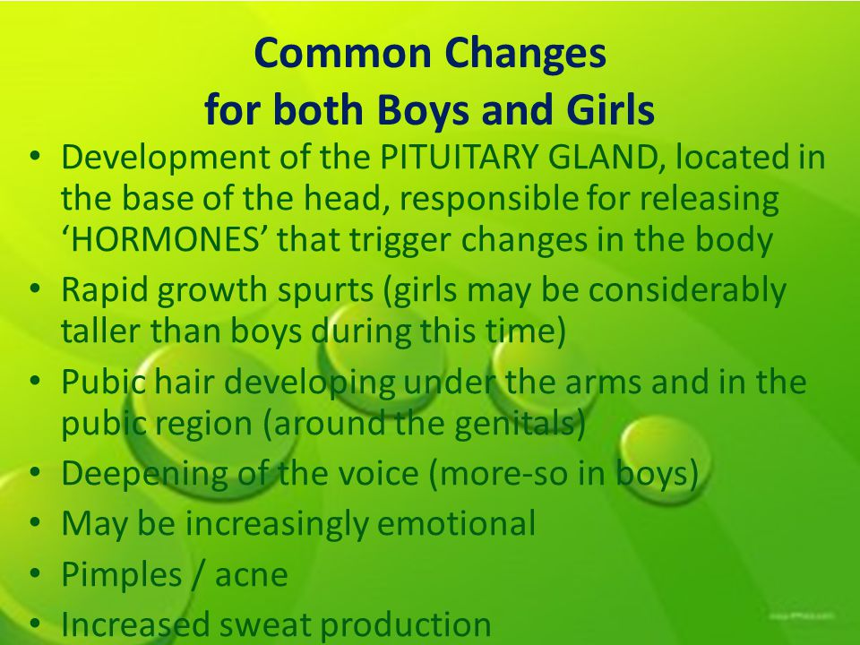 Common Changes for both Boys and Girls