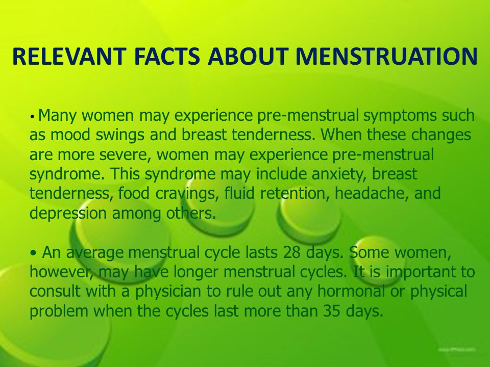 RELEVANT FACTS ABOUT MENSTRUATION