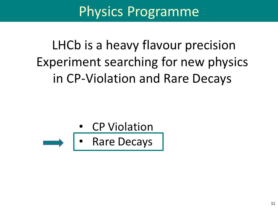 Physics Programme LHCb is a heavy flavour precision