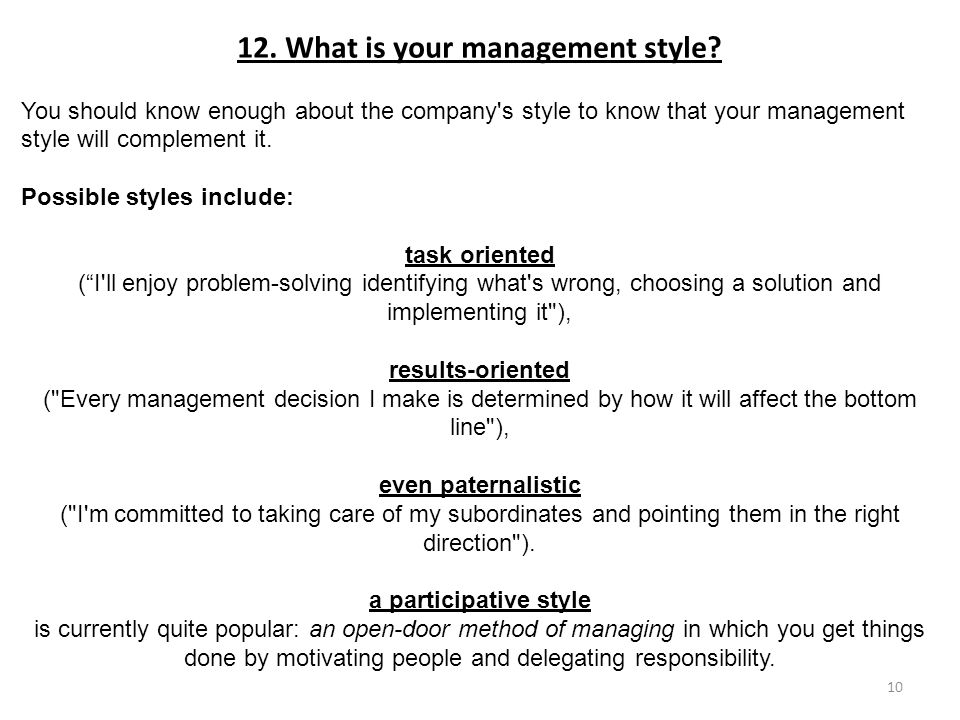 my management style