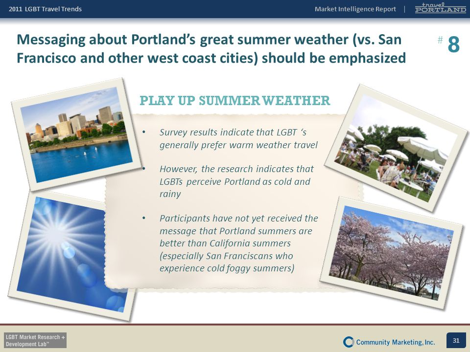 Messaging about Portland's great summer weather (vs