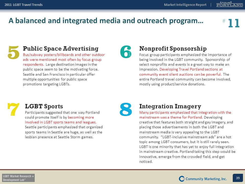 11 A balanced and integrated media and outreach program…
