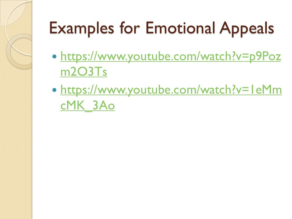 Examples for Emotional Appeals