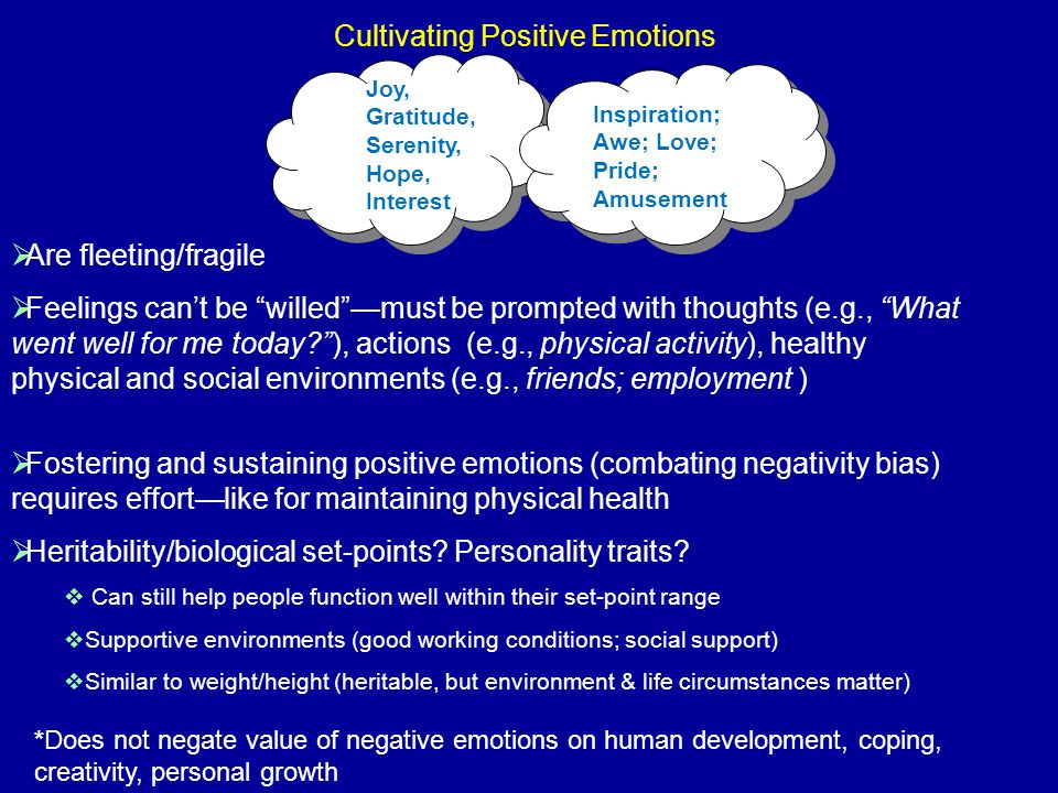 Cultivating Positive Emotions