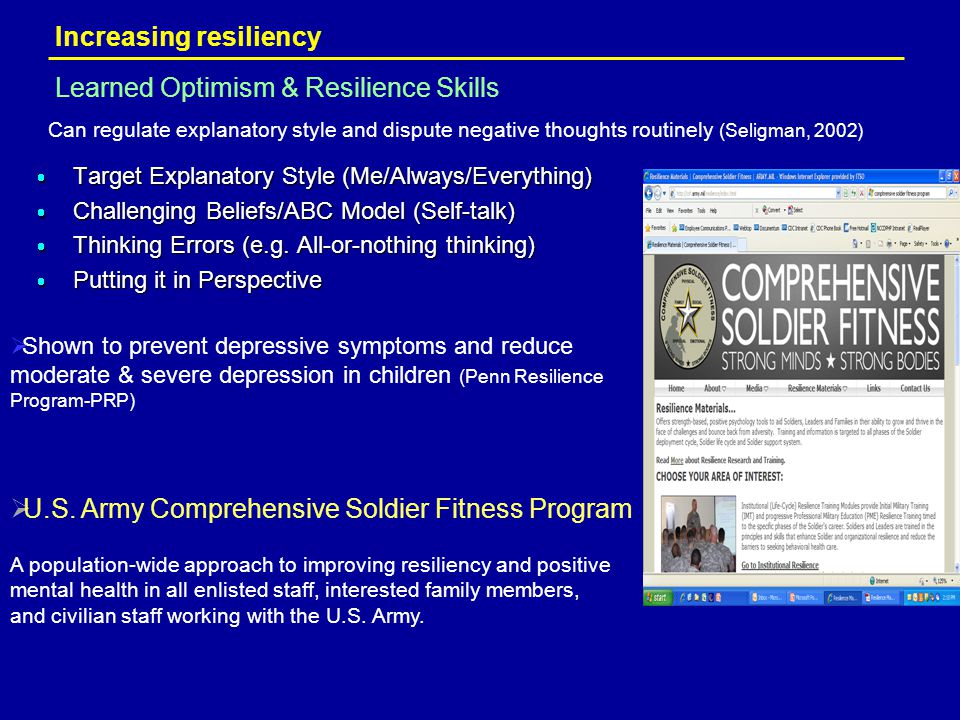 Increasing resiliency